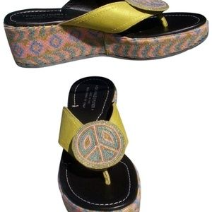 Peace Hand Beaded Leather Shoe New Wedge Sandal